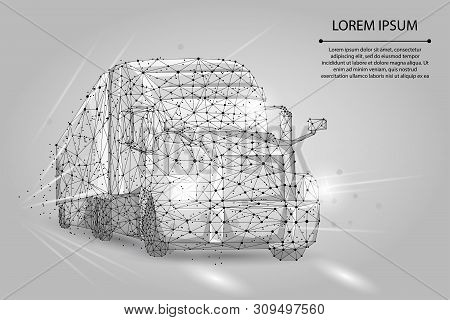 Abstract Image Of A Truck Consisting Of Points, Lines, And Shapes. 3d Heavy Lorry Van On Highway Roa