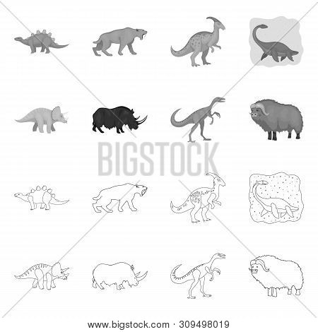 Vector Illustration Of Animal And Character Logo. Set Of Animal And Ancient Vector Icon For Stock.