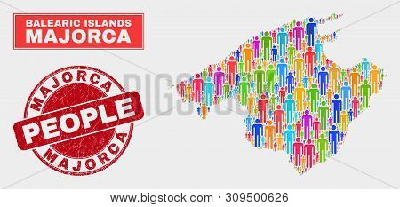 Demographic Majorca Map Illustration. People Colorful Mosaic Majorca Map Of Crowd, And Red Rounded R