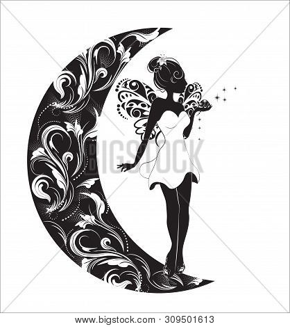 Silhouette Of The Fairy With Wings And A Magic Dust, Fairy On The Moon
