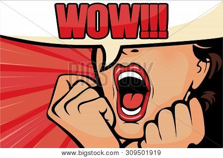 Pop Art Surprised Brunette Woman Face With Open Mouth. Comic Woman With Speech Bubble. Vector Illust
