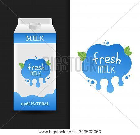 Blank Fresh Milk Carton Branding Box. Milk Cardboard Package. Drink Box. Modern Vector Illustration
