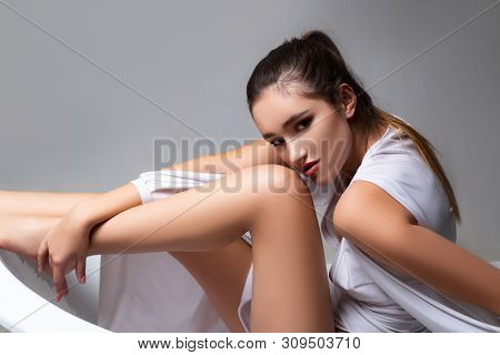 intimate hygiene. epilation. makeup and hair style. Sensual woman. Beauty and fashion. trendy look. hygiene and self care. epilation and shaving legs. perfect legs. soft skin after shaving. poster