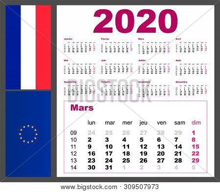 Calendar Grid Language Is French, France, Gallic, Parleyvoo For 2020 With Weeks. Illustration Templa