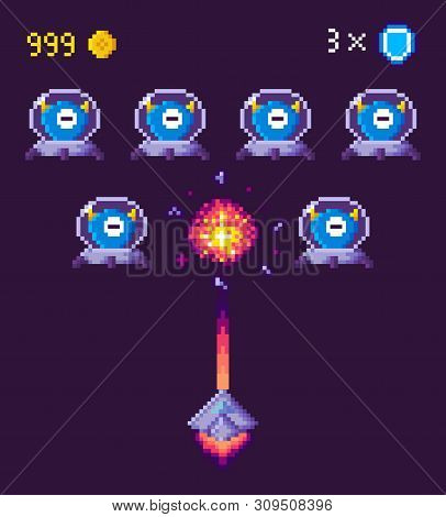 Spaceship And Ufo Aliens Fight Pixel Game Vector. Pixelated Characters And Points Gained In Battle,