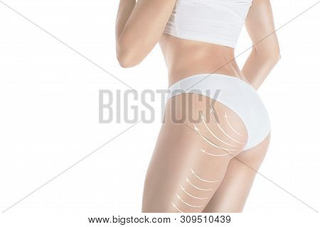 Female Attractive Body And Butt In Base Underwear. Lifting Marking With Arrows In Womans Buttocks An