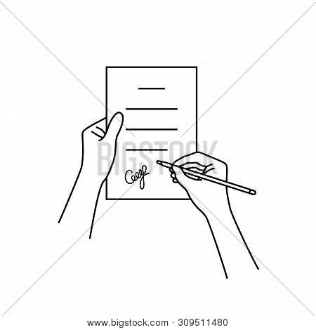 Black Linear Hand With Contract. Thin Line Modern Contour Graphic Stroke Design Illustration Isolate