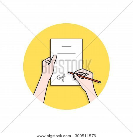 Linear Hands With Signed Contract. Concept Of Man Or Woman With Confirm Outcome Or Inference And Own