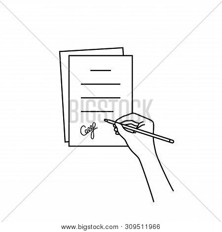 Thin Line Hand With Signed Document. Linear Modern Pact Logotype Graphic Design Illustration Isolate
