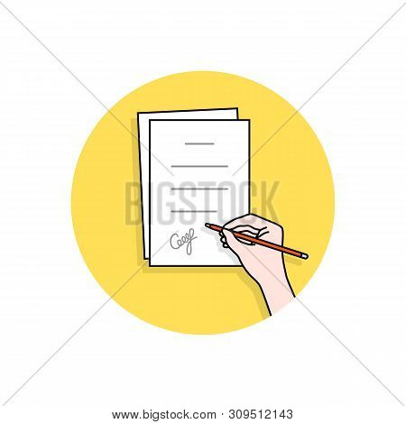 Cartoon Hand Signed Pact Or Document. Concept Of Man Or Woman With Confirm Outcome Or Inference And