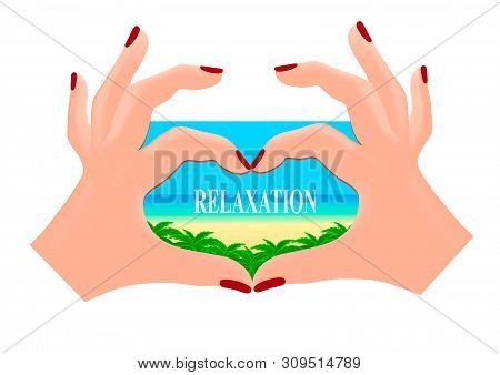 Hands In The Shape Of A Heart Show The Dreams Of A Weary Man. Gift Magnet Isolated On White Backgrou