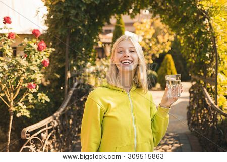 Stay Hydrated. Girl Drink Water. Woman Enjoy Mineral Water. Pure Enjoyment. Health Care And Hydratio