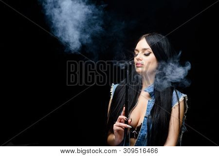 Nicotine Addiction. Attractive Busty Brunette Smoking Vaping Device. Girl Vaping. Hookah Bar. Electr