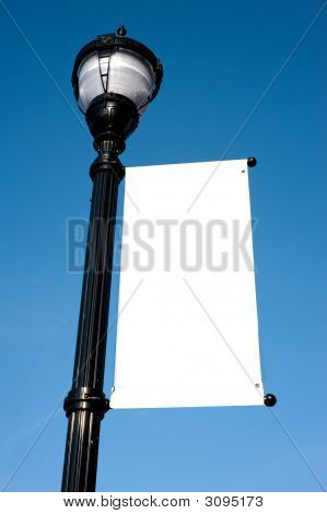 Blank Sign On Lamp Post