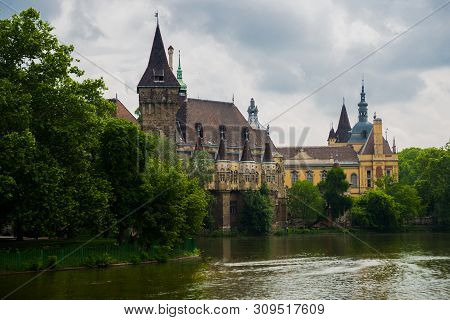 Budapest, Hungary: The Famous Tourist Attraction Vajdahunyad Castlealso Known As The Dracular Castle