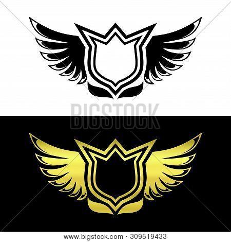 Shield Wing Logo Blackk And Gold, Wing Logo Luxury Wings Vector, Wings Logo Vector, Wings Icon, Wing