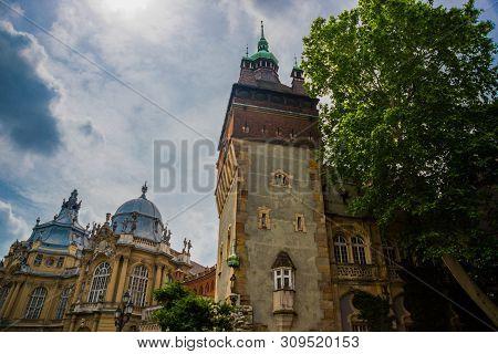 Budapest, Hungary: Beautiful Palace In The City Park Near The Vajdahunyad Castle