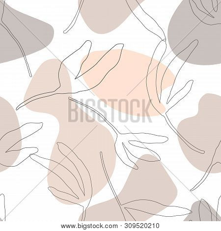 Seamless Pattern With Abstract Geometric Shapes, Leaf Nature Aesthetic Texture, Pastel Warm Tones. M