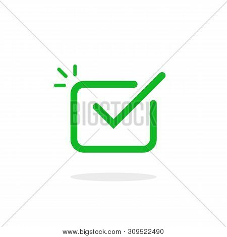 Thin Line Check Tick Like Okey Icon. Linear Simple Flat Trend Modern Premium Ui Logotype Graphic Out