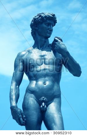 an image of David`s statue in museum