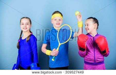 Friends Ready For Sport Training. Child Might Excel Completely Different Sport. Sporty Siblings. Gir