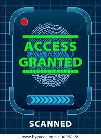 Finger-print scanning. Access Granted. Vector format EPS 10, RGB