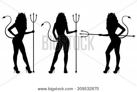 Vector Illustration Set Of Black Silhouette Of A Devil Girl. Isolated White Background. Woman With P
