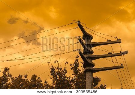 Silhouettes Of High Voltage Power Lines And Trees Against A Dramatic Yellow Sky At Sunset.