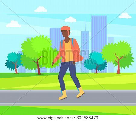 Boy Rollerblading In Casual Clothes, Man Wearing Helmet In City Park, Trees And Buildings. Vector Pe