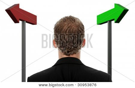 Businessman making a choice , isolated on white background