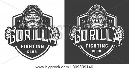 Vintage Fight Club Emblem With Ferocious Gorilla In Monochrome Style Isolated Vector Illustration