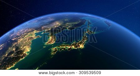 Planet Earth With Detailed Exaggerated Relief At Night Lit By The Lights Of Cities. Part Of Asia, Ja