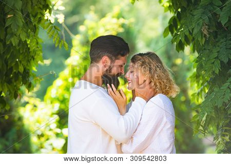 Trust in love. Intimate moments for happy lovers. Romantic portrait of a sensual couple in love. Sensual couple getting closer to feel each others lips. Couple in retro old style poster