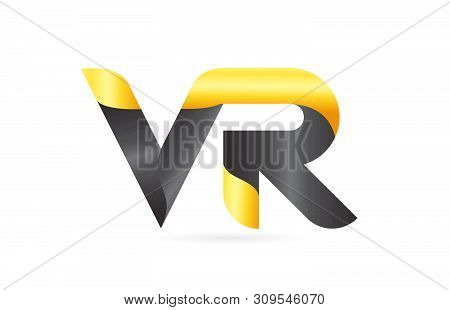 Joined Or Connected Vr V R Yellow Black Alphabet Letter Logo Combination Suitable As An Icon Design