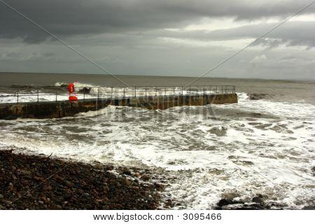 Balintore Pier And Rough Sea