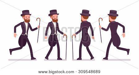 Gentleman In Tuxedo Jacket With Tails Walking, Running. High Social Rank Man, Fashionable Dandy In C