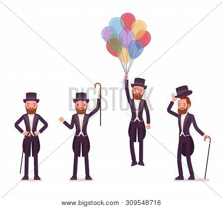 Gentleman In Tuxedo Jacket Positive Emotions With Balloons. High Social Rank Man, Fashionable Dandy