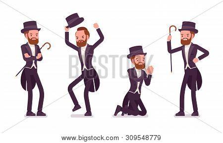 Gentleman In Tuxedo Jacket, Negative Emotions. High Social Rank Man, Fashionable Dandy In Classic Su