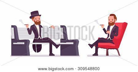 Gentleman In Black Tuxedo Jacket Sitting. High Social Rank Man, Fashionable Dandy In Classic Suit, C