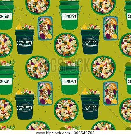 Seamless Pattern With Compost Bins Front And Top View Filled With Kitchen Scraps. Composting Theme B