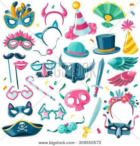 Carnival Party Inventory Set. Large Set Of Isolated Carnival Items On White Background In Illustrati