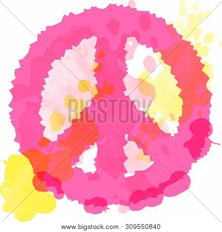 Peace Hippie Symbol Over Colorful Background. Freedom, Spirituality, Occultism, Textiles Art. Vector