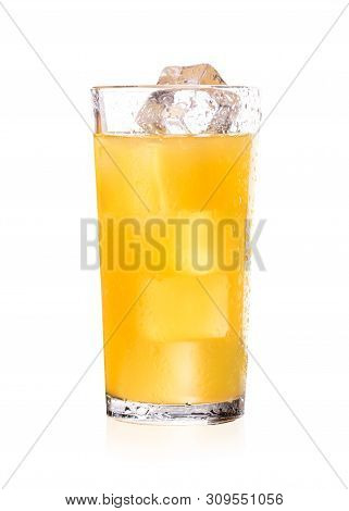Freshly Squeezed Orange Juice With Ice Cubes. Juice In A Glass Isolate On White Background. Orange J