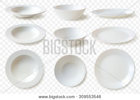 Realistic Plates Set. Set Of Nine Isolated White Porcelain Plates Vector Mockup In A Realistic Style