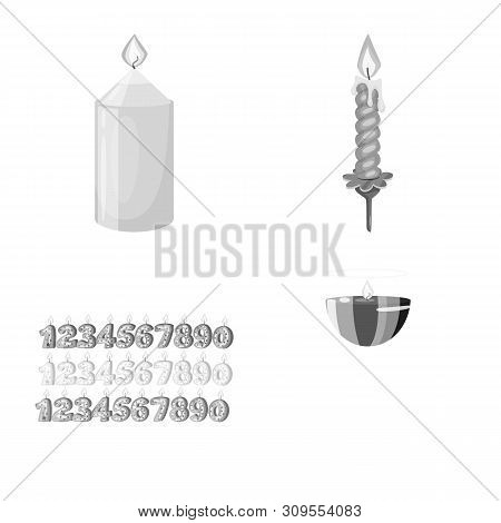 Vector Illustration Of Paraffin And Fire Logo. Set Of Paraffin And Decoration Stock Vector Illustrat