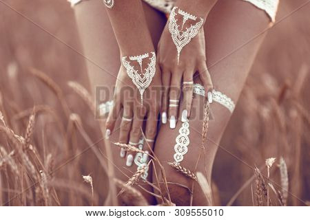 Boho Style White Body White Lingerie Tattoo. Bohemian Woman Carefree At The Sunset, Outddoor Photo.