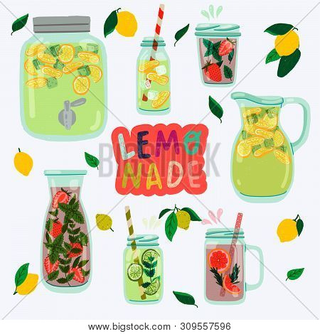Lemonade Series With Flat Style Mason Jars. Hand Drawn Glasses With Natural Cooling Drinks Made Of L