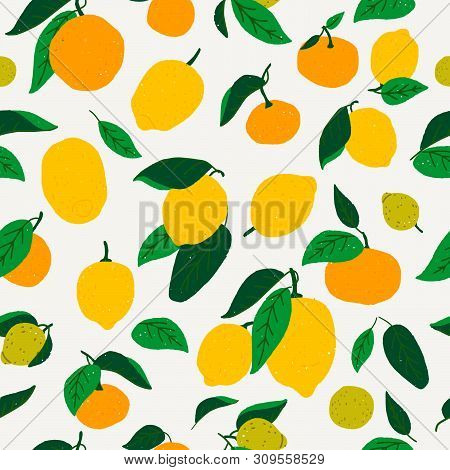 Flat Style Lemon And Oranges Seamless Pattern. Repeating Cartoon Citrus Fruits And Leaves. Tiling Gr