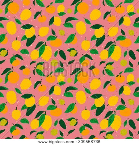 Bright Seamless Pattern With Citrus Fruits On Coral Background. Lovely Summer Mood Backdrop With Rep