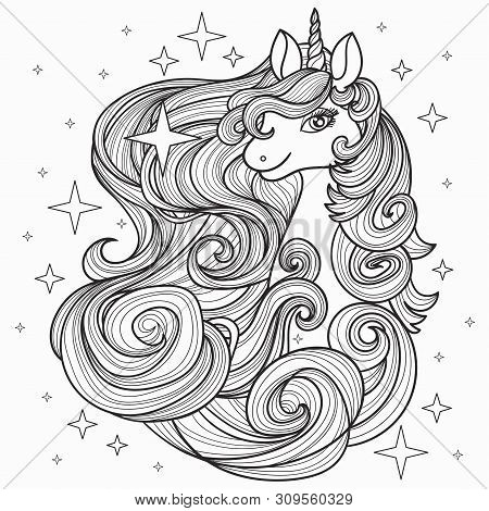 Unicorn With A Long Mane, Hand Drawn Vector Illustration
